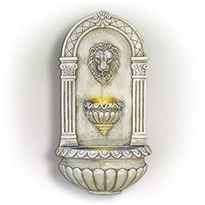 Alpine Corporation TZL160 Lion Head Wall Fountain w/LED Lights, 32 Inch Tall, White
