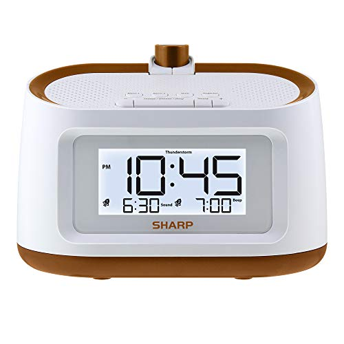 Sharp Projection Alarm Clock with Soothing Nature Sleep Sounds – Easy to Read Projection on Wall or Ceiling – 8 Sleep Sounds to Help Fall Asleep Faster, White CAE with Gold Trim