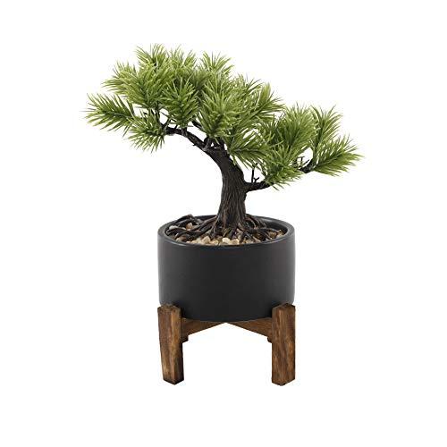 Flora Bunda Artificial Plant 9.2 in Bonsai Tree in 3.75 in Ceramic on Wood Stand,Black