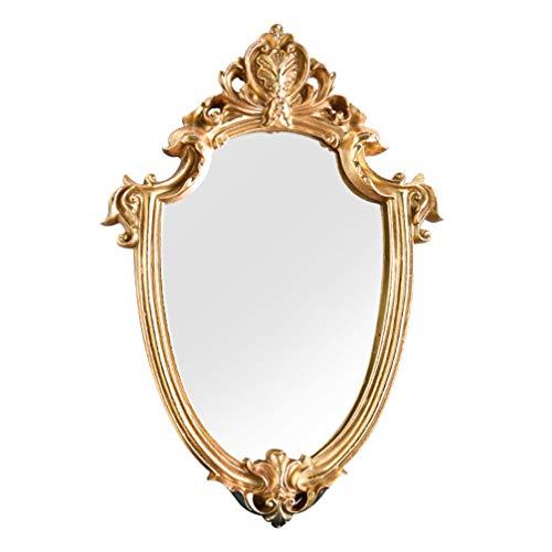Homoyoyo Espejo de Pared Decorativo Real Escudo de Oro Artístico Espejo de Pared de Oro Vintage Retro Barroco Antiguo Espejo de Pared Decoración para Baño Hogar