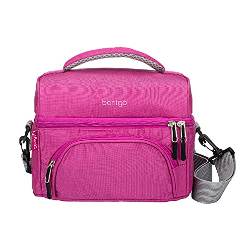 Bentgo Deluxe Lunch Bag - Durable and Insulated Lunch Tote with Zippered Outer Pocket, Internal Mesh Pocket, Padded and Adjustable Straps, & 2-Way Zippers - Fits All Bentgo Lunch Boxes (Purple)