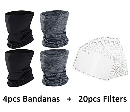 YQXCC 4 Pcs Bandanas Neck Gaiter Face Cover Scarf with 20 Pcs Carbon Filters - Sun UV Protection Breathable Gator Mask (2B2G+20Filters)
