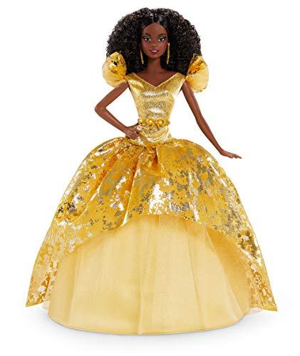 Barbie Magia delle Feste 2020, Bambola con Capelli Scuri Ricci con Abito Dorato, con Certificato di Autenticità, 6+ Anni, GHT55