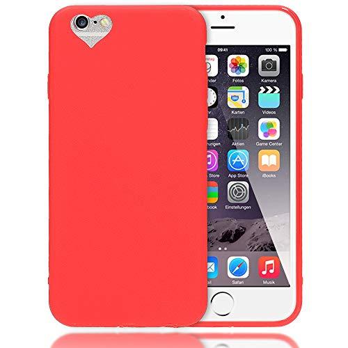 NALIA Cuore Custodia compatibile con iPhone 6S 6, Protezione Ultra-Slim Case Cover Protettiva Morbido Telefono Cellulare in Silicone Gel, Gomma Smartphone Bumper Sottile, Colore:Rosso