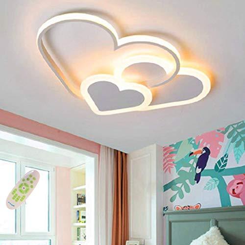 LED Ceiling Light Modern Love Heart Design Ceiling Lighting Warm and Romantic Baby Lamp Creative Acrylic Pendant Lights Bedroom Cartoon Chandelier Living Room Children's Room Hanging Lamps,White,52cm