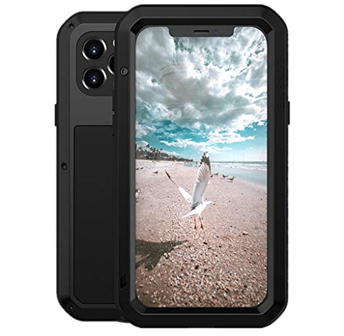 LOVE MEI per iPhone 12 PRO Custodia,Outdoor Heavy Duty Antiurto Impermeabile Polvere-Prova Sporcizia-Prova in Alluminio Metallo Cover con Vetro Temperato per iPhone 12 PRO 6.1'' (Nero)