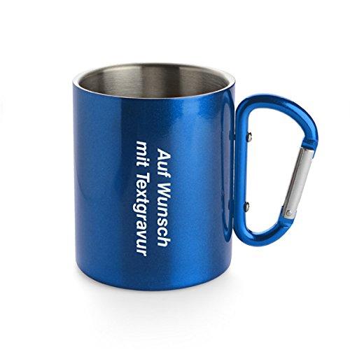 Creativgravur® Doppelwandige Edelstahl Tasse 280 ml Thermobecher mit Karabinerhaken - leicht für Camping oder Outdoor, Farbe:Blau