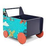 Lalaloom SPACE WAGON - Andador para bebe de madera natural con ruedas (carrito multifuncional infantil con espacio, almacenaje para juguetes), 50x37.6x45 cm, color Azul