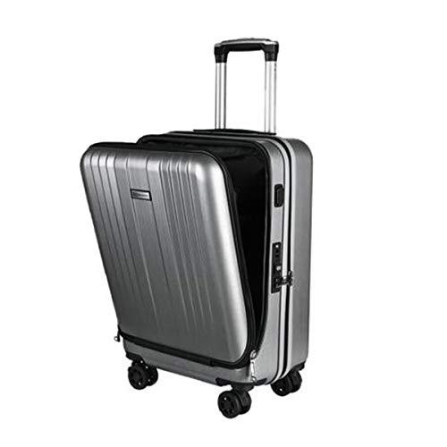 スーツケース小型 機内持込 旅行カバン TSAロック【USB ポート搭載】 フロントオープン 1〜3日用 静音8輪 超軽量 大容量 旅行 出張 (シルバーグレー)