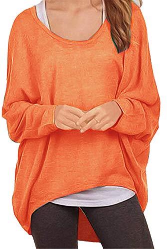 Meyison Meyison Damen Lose Asymmetrisch Sweatshirt Pullover Bluse Oberteile Oversized Tops T-Shirt Orange XL