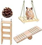 Jouets à Macher de Hamster,Lot de 4 Accessoires de Jouets de Chinchilla de Rats de Cochons Guinée Pin Bois Naturel Jouet Molaire pour Hamster,Souris,Chinchillas,Lapin,Gerbille,Cochon d'Inde