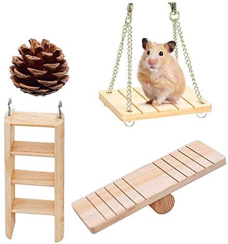 Kauspielzeug für Kleine Tiere,4 Stücke Hamster Kauspielzeug Natürliche Kiefernholz Unicycle Roller Übung Hantel Zahnpflege Molaren Spielzeug für Hamster Hase Kaninchen Ratten Rennmäuse 五点
