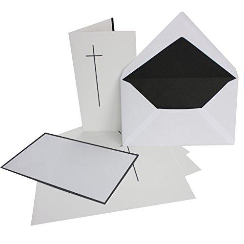 15x Trauerkarten-Set mit Kreuz ca. B6 11,4 x 19,5 cm & Trauer-Umschlägen mit schwarzem Rand & schwarzem Futter, Faltkarten Trauer-Anzeigen