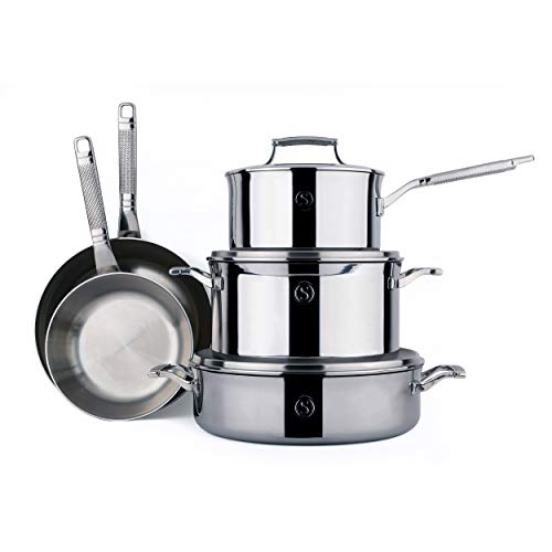 SAVEUR SELECTS 8-piece Tri-ply Stainless Steel Cookware Set, 5 Essential Pots and Pans, 3 Interchangeable Lids, Induction-ready, Dishwasher Safe, Voyage Series