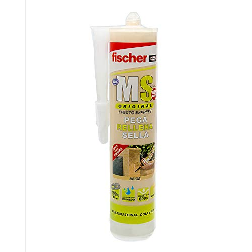 fischer - sellador de Juntas MS Sellante/ADH Beige (Cartucho 290 ml) polímero Mono-componente para Pegar y sellar Diferentes Materiales, excelente Resistencia de decoloración, sin Silicona