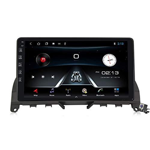 QBWZ Autoradio Android 9.0 Radio für Mercedes Benz C-Klasse 3 W204 S204 2006-2011 GPS-Navigation 9-Zoll-Touchscreen-Headunit MP5-Multimedia-Player-Video mit 4G WiFi DSP Carplay