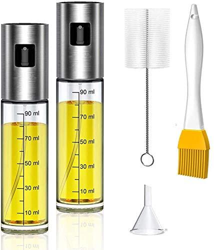 2Pcs Spruzzatori di olio, Spruzzino per Olio Cucina Vetro Spruzzatore di Aceto 100ML con Spazzole per Pasta,Insalata,Padella,Griglia per Barbecue