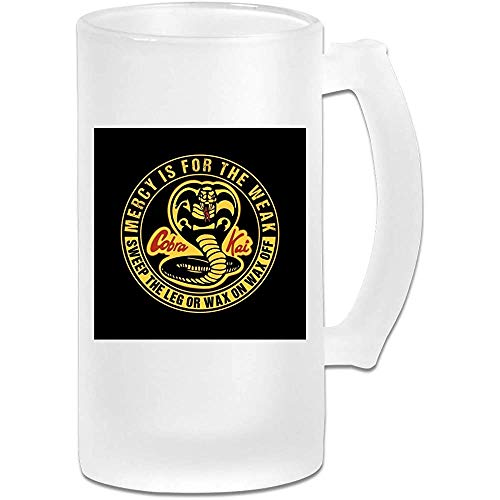 Taza de jarra de cerveza de vidrio esmerilado impresa de 16 oz - Cobra Kai Mercy Is For The Weak - Taza gráfica