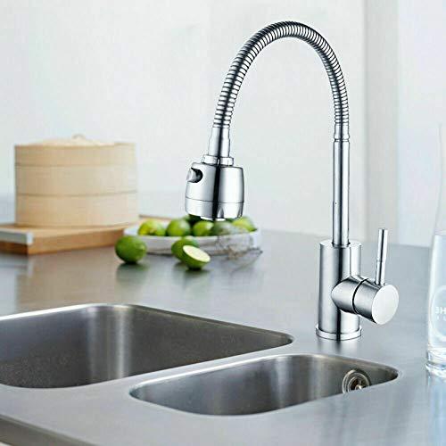 HENGMEI Küchenarmatur 360° Drehbar Wasserhahn Küche Wasserhahn Einhebelmischer Spültischarmatur hoher schwenkbare mit Zwei-Funktion-Brause, Silber