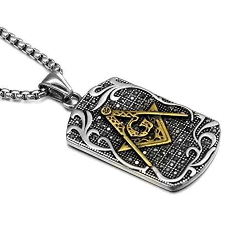 Freemason Collar de Acero Inoxidable con Cadena masónica para Perro, Collar de...