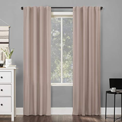 Sun Zero Cyrus Thermal 100% Blackout Back Tab Curtain Panel, 40' x 96', Blush Pink