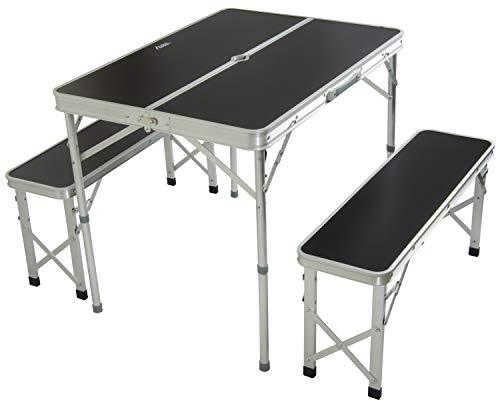 Andes Camping-Möbelset aus Picknick-Tisch und Bänken - faltbar - transportabel - Aluminium - Schwarz