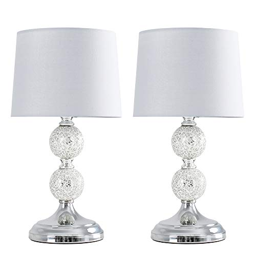 Pair of - Modern Decorative Chrome & Mosaic Crackle Glass Table Lamps with a Grey Shade