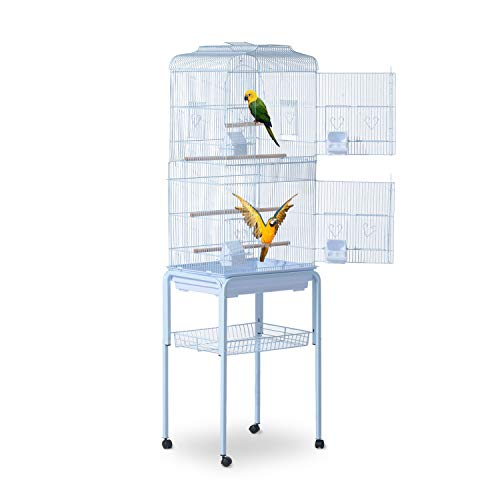 PawHut 60' Bird Cage Cockatoo House Play Top Finch Pet Supply with Wheels White