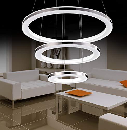 ZQQ Lámpara Colgante LED para Sala De Estar Araña De Techo/Luces para Mesa De Comedor Lámpara De Araña De 3 Anillos Regulable con Control Remoto para Dormitorio Altura Iluminación De Techo,30+50+70cm
