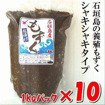 沖縄石垣島産・塩もずく10kg(1kg×10パック)養殖もずく・シャキシャキタイプ・2020年収穫分