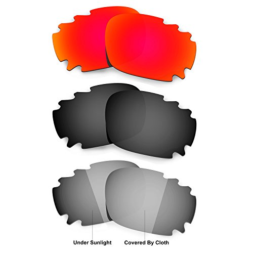 HKUCO Red/Black/Transition/Photochromic Polarized Replacement Lenses For Oakley Racing Jacket Vented Sunglasses