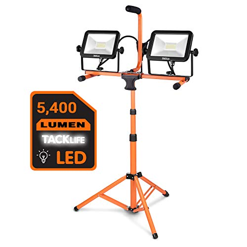 TACKLIFE 5400 Lumen Tripod LED Work Light with Two-Head Total 60W Work Light, Metal Telescopic Tripod Stand, Rotating Waterproof Lamps and 16.5 Ft Power Cord