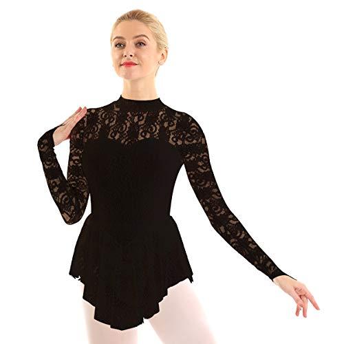 IEFIEL Vestido Manga Larga de Danza Ballet para Mujer Vestido Encaje de Gimnasia Ritmica Maillot Cuello Redondo de Patinaje Artistico Negro Medium