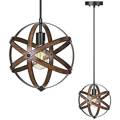 DEWENWILS Industrial Metal Pendant Hanging Light, Wood Grain Metal Spherical Cage Globe Vintage Ceiling Chandelier Foyer Light for Kitchen Island, Bedroom, Dinning Hall Corridor Office, ETL Listed