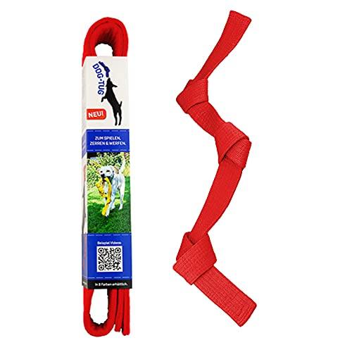 Dog-Tug Hundespielzeug zum Spielen, Werfen, Zerren und Apportieren aus natürlicher Baumwolle. Robustes Multifunktions-Spielzeug für alle Hunderassen.