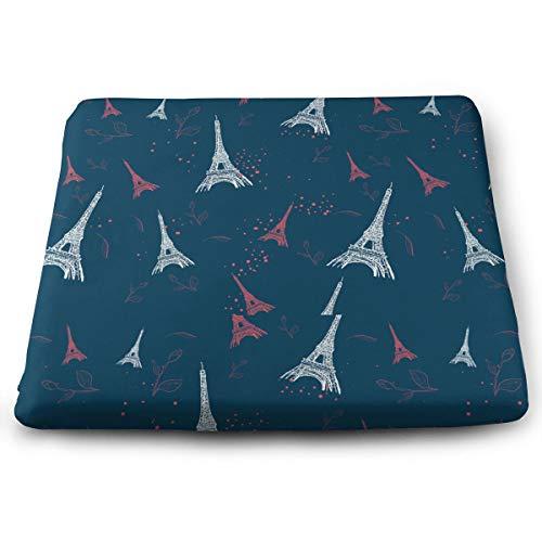 Badwang Memory Foam Pad zitkussen. Autostoel kussens om hoogte te verhogen - bureaustoel Comfort kussen - Parijs patroon met Eiffeltoren en rozen