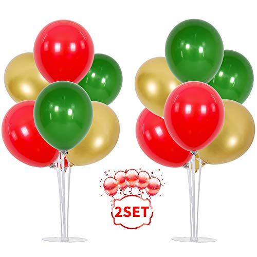 TONIFUL Red Green Gold Balloons Table Decorations 2 Set Table Centerpiece Balloons Stand Holder Kit with Reusable Clear 14 Sticks 14 Cups 2 Base 16 Latex Balloons for Birthday Shower Baby Party Supplies