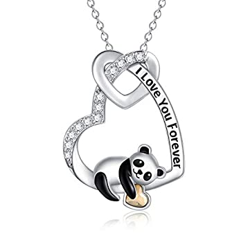 Panda Necklace Gifts 925 Sterling Silver I Love You Forever Cute Animal Panda Heart Pendant Necklace with Austrian Crystal Anniversary Valentine Birthday Jewelry Gifts for Women Girlfriend Wife Mom