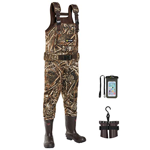 TIDEWE Chest Waders, Hunting Waders for Men Realtree MAX5 Camo with 600G Insulation, Waterproof Cleated Neoprene Bootfoot Wader, Insulated Hunting & Fishing Waders (Size 10)