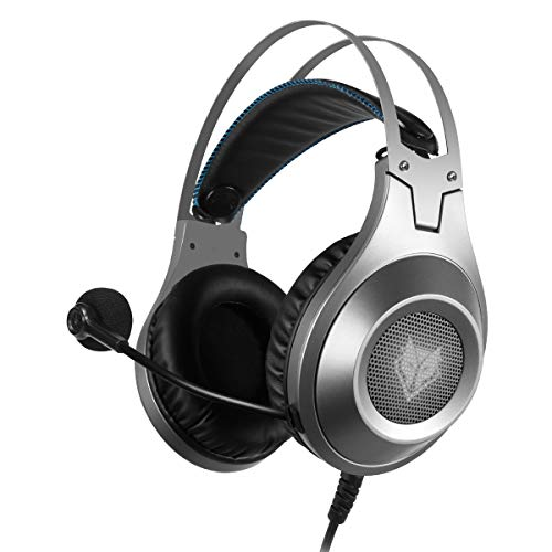 RASHLD PS4 Kopfhörer, Gaming-Headset für PC, Flügel für Lenkrad, Headset, LED, Geräuschunterdrückung, Lautstärkeregler, Kopfhörer mit Mikrofon für Switch, PS4, Mac, Xbox One, PC