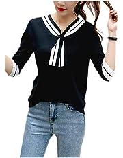 [ネコート] 選べる5色 セーラー サマーニット カットソー ブラウス 半袖 薄手 爽やか かわいい フリーサイズ レディース