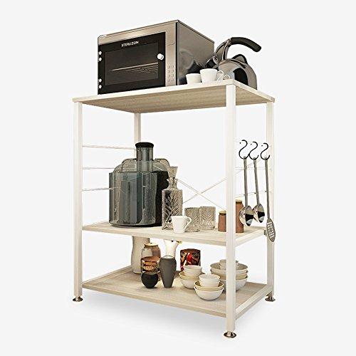 Étagère Peaceip de ménage, rectangulaire de Four à Micro-Ondes de Salon de Cuisine, Bois + Acier 60 * 40 * 82cm