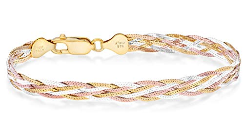 Miabella Tri-Color 18K Gold Over 925 Sterling Silver Italian 6-Strand Diamond-Cut 7mm Braided Herringbone Chain Bracelet for Women Teen Girls 6.5, 7.25, 8 Inch 925 Italy (7.25)
