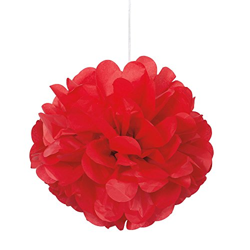 Unique Party 64215 - 23cm Small Red Tissue Paper Pom Poms, Pack of 3