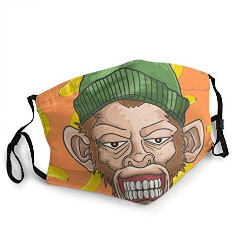 Maske Schutzmaske Grinsender AFFE mit Skullcap Fullcolor Unisex Mundkappe im Freien Sporttraining 1St Atmungsaktiv Mund-Nasen Bedeckung Halstuch Schals Herren Damen