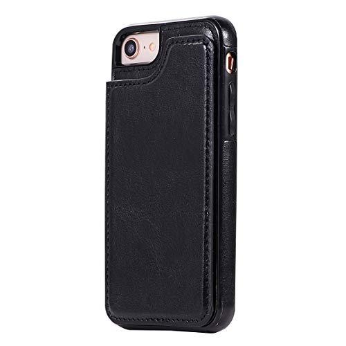 Hemobllo Retour Slip Card Slots Etui en Cuir PU Housse téléphone Anti-Rayures Shell de Protection pour iPhone 8/7 (Noir)