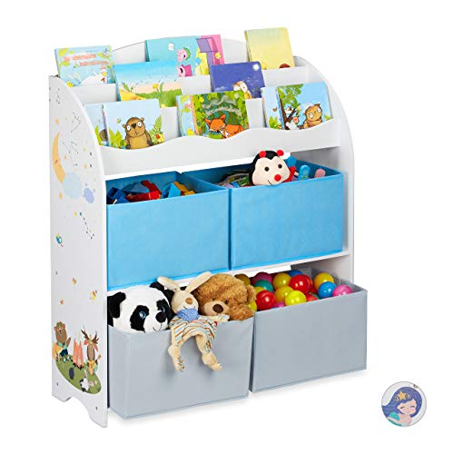Relaxdays Kinderregal, 4 Boxen, Lagerfeuer Motiv, Spielzeug Aufbewahrung, Kinderzimmer Regal HBT 98 x 82,5 x 30 cm, bunt