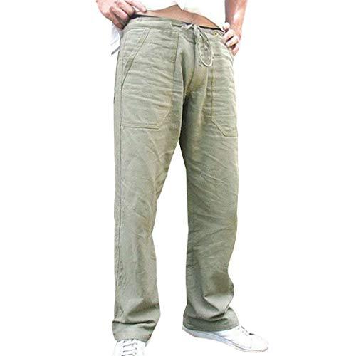 Hombre Pantalones de Lino Sueltos Pantalones Deportivos Elásticos Bolsillo Trabajo Corta Pantalones Pants Pantalón de Playa Casuales Transpirable Fitness Chandal riou