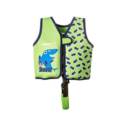 MUNDO PETIT - Chaleco de Ayuda a la flotabilidad Aprendizaje de la natación, Ideal para peques de 9 a 18 kg (Tiburon Verde)