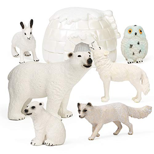 7Pcs Polar Animals Figurines with Igloo for Kids Realistic Arctic Animal Figures Toy Playset Includes Polar Bear, Snowy Owl, Wolf, Rabbit, Arctic Fox Cake Topper Birthday Toy Gift for Kids Toddlers